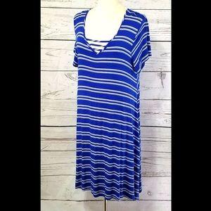 New Directions Blue/White Stripe Tee Shirt Dress